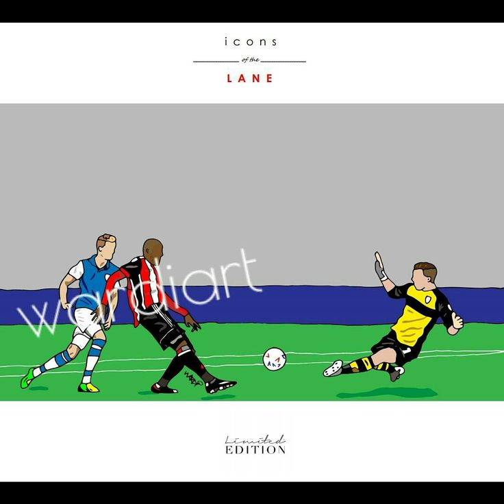 Leon Clarke print from the 'icons of the Lane' range by Sheffield United club artist wardi   See shop for all pieces