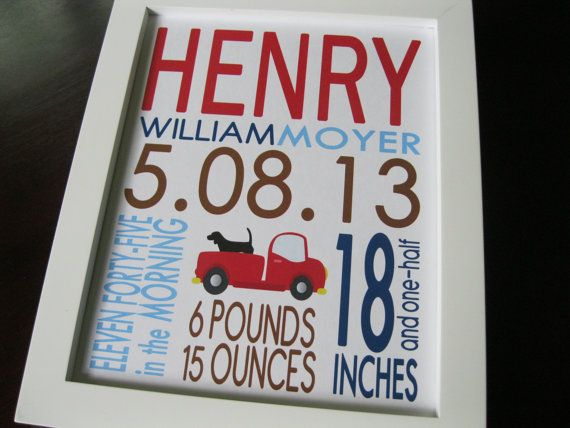 Baby Boy Nursery Decor Kids Wall Art Birth Print Dog Truck 8 x 10 HENRY via Etsy