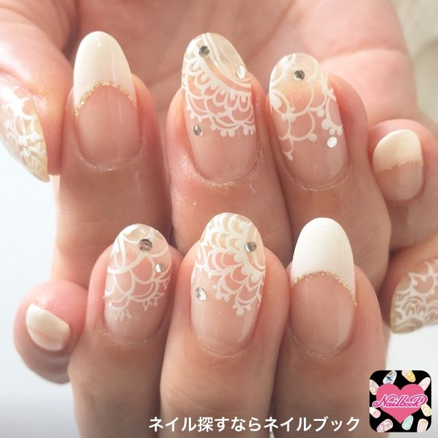 White lace nude bridal nails