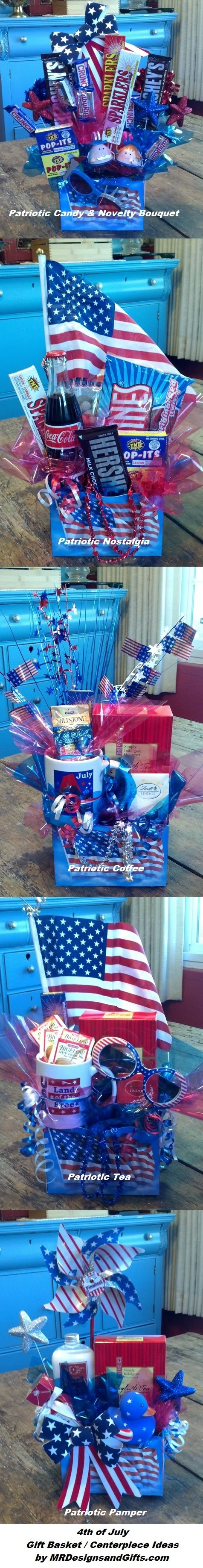 """Five assorted 4th of July themed gift baskets double as centerpieces for a client appreciation luncheon. Each table had a """"winner"""" who could take the arrangement home with them."""