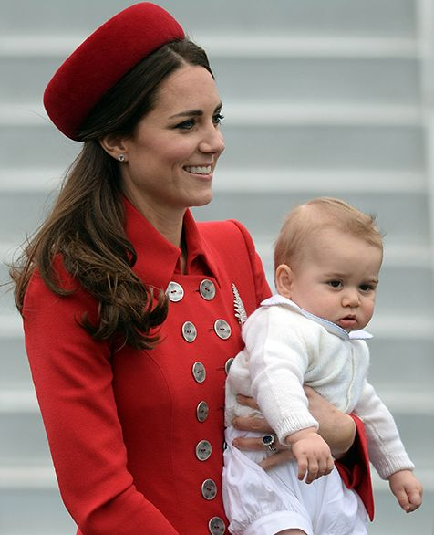 Can't. Handle. The Duchess of Cambridge and Prince George arrive at the Military Terminal at Wellington Airport on a Royal New Zealand Air Force aircraft,  Monday, Apr. 7!