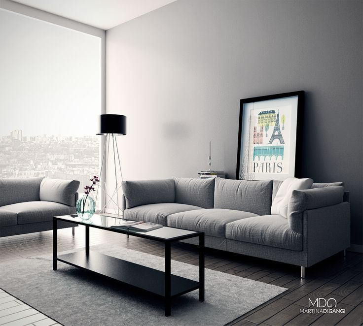 #interior #apartments #livingroom #paris #sofa - Rendering: Cinema 4D + Vray  Post-produzione: Photoshop