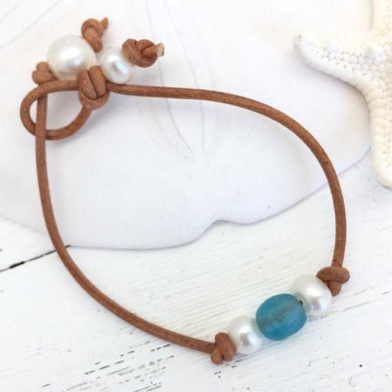 Seaglass Leather Anklet for Women plus size available Boho Beach Jewelry Blue Glass and Pearl Ankle Bracelet gift idea for her