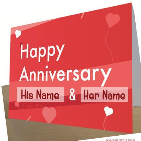 Specially Name Wishes Wedding Anniversary Card Image Write Couple