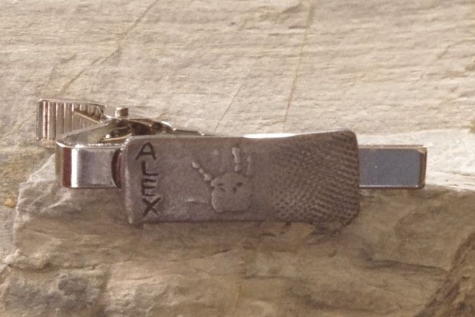 Men's Jewelry: Steel tie clip with child's handprint and name. Great Christmas gift!