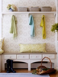 small entryway ideas - Google Search  (I like the top shelf w/ hooks- The bench doesn't look that nice)