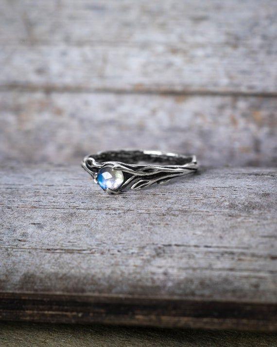 """Mondstein Verlobungsring """"Lia"""", Sterling Silber Blatt Ring mit Edelstein, Zwe …   – สร้อย"""