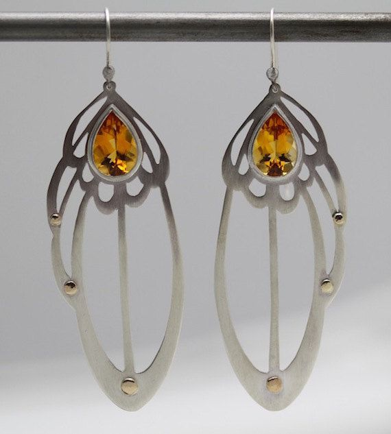 Silver Lace-like Earrings with Natural Gemstones & Gold Accents