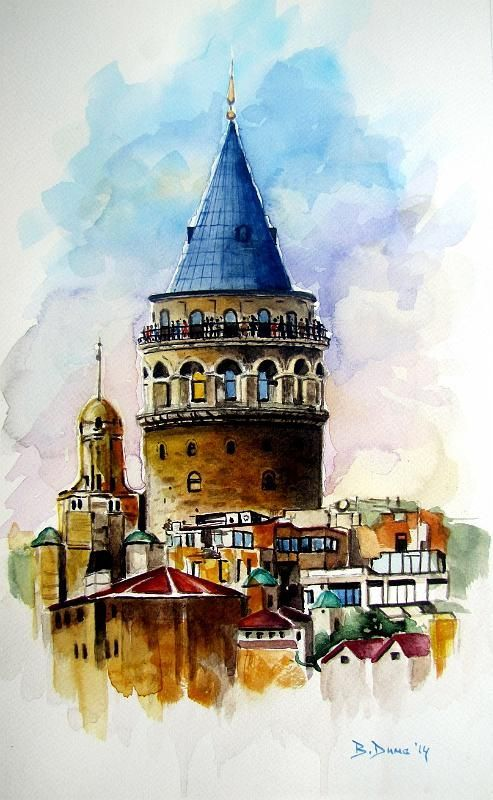 Galata Tower, Istanbul, Turkey. #watercolorarts