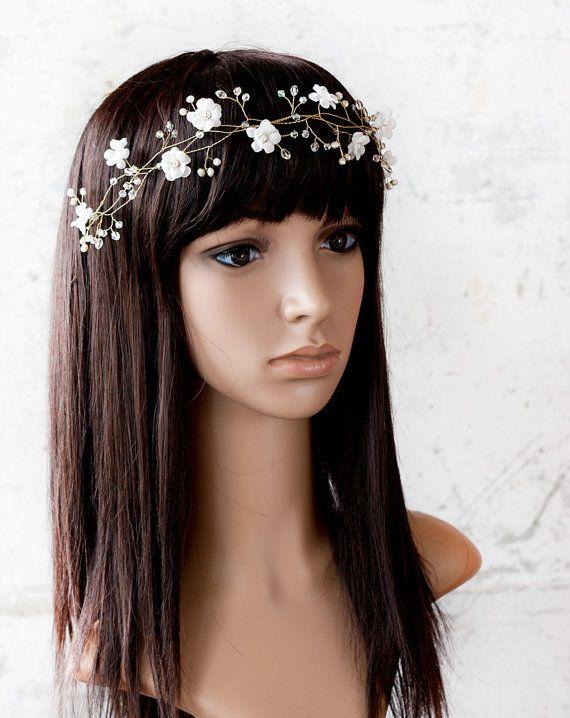 Blanc accessoires de cheveux de mariage couronne de par ArsiArt