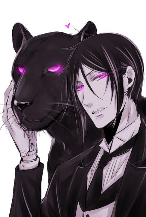 Sebastian with panther fantastic fanart Kuroshitsuji black butler purple