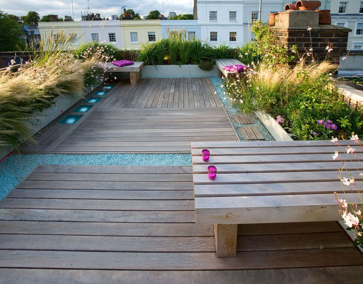 Roof terrace in holland park timber decking and benches for 4 holland terrace needham ma