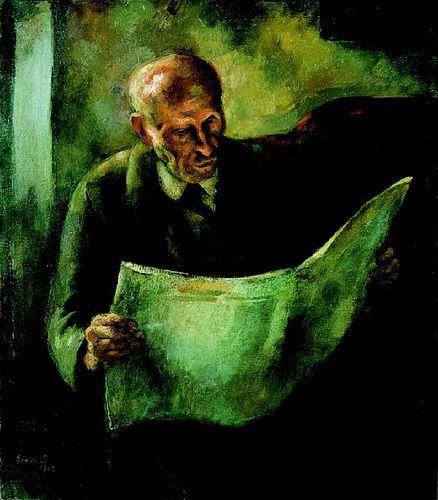 Szonyi Istvan: Man Reading (artist's father)  Istvan. 1923. Oil painting.