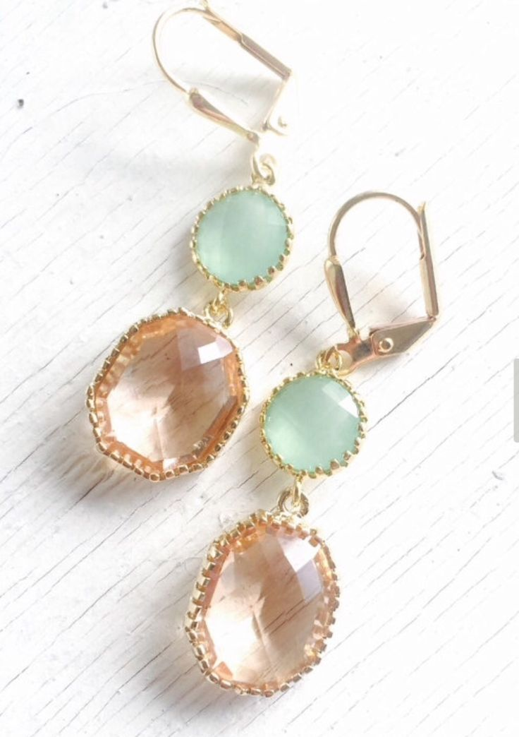 Champagne and Mint Dangle Earrings. Bridesmaid Earrings in Mint and Peach. Dangle Earrings. Drop Earrings. Wedding Jewelry. Bridal. Gift.