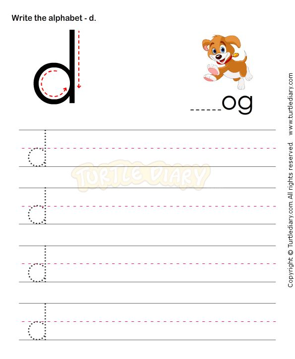 Small Letters D - esl-efl Worksheets - kindergarten ...