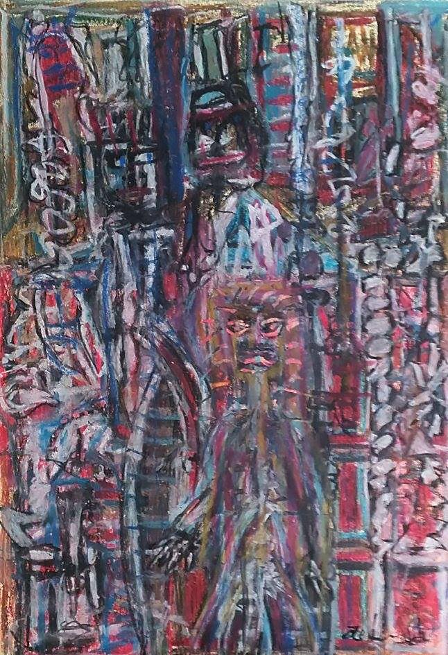 """""""Espressioni e stati d'animo per strada"""" Pastelli a olio su carta 36x50"""