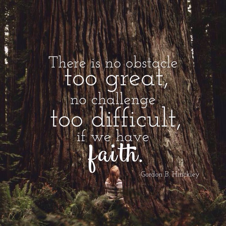 There is no obstacle too great, no challenge too difficult, if we have faith.  –President Gordon B. Hinckley