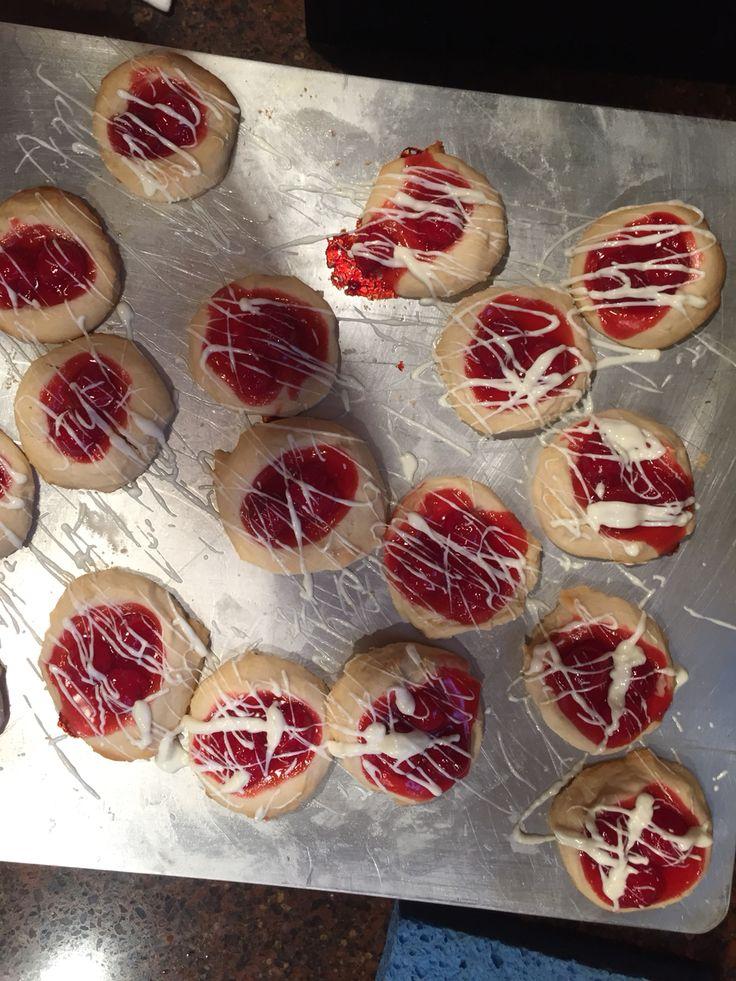 Cherry Thumbprints with White Chocolate Cherries