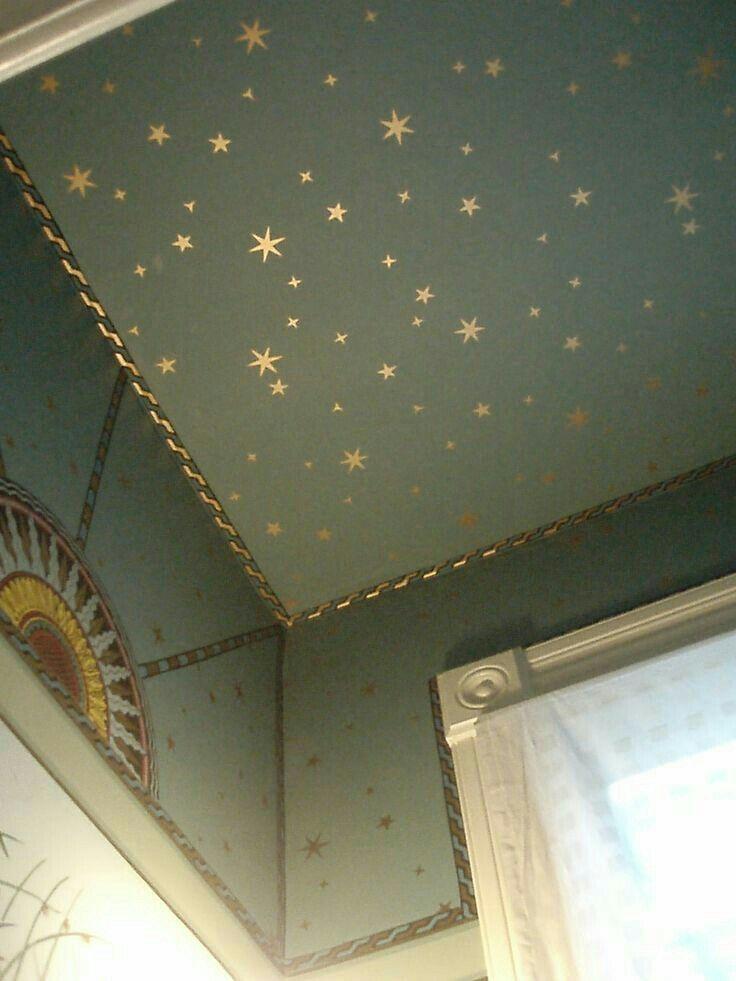 Dreamy Celestial Ceiling Star Ceiling House Styles Mural