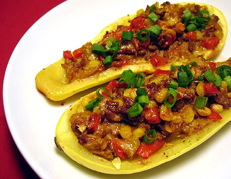 Stuffed Yellow Squash (but with turkey instead of beef)