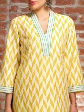 Yellow Kora Cotton Tunic - L