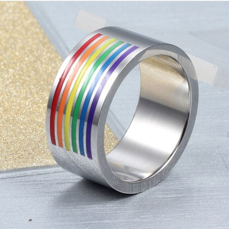 10mm Men's Rainbow Striped Ring Gay Lesbian LGBT Stainless Steel Band Size 7-12 #Unbranded #Band