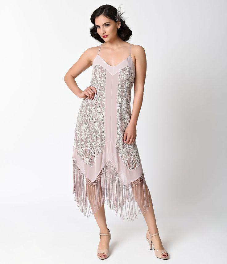 1920s Bridesmaid Dresses & Gowns 1930s Style Mauve Purple Lace Fringe Flapper Day Dress