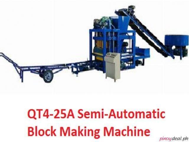 Qt4 25a Semi Automatic Block Making Machine In 2020 Making Machine Concrete Blocks Pallet Size