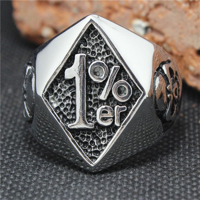 TwiztedSilver.com  316L Stainless Steel 1%er Skull Biker Ring - One Percenter Biker Ring