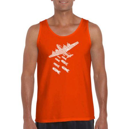 Los Angeles Pop Art Big Men's Tank Top - Drop Beats Not Bombs, Size: 2XL, Orange