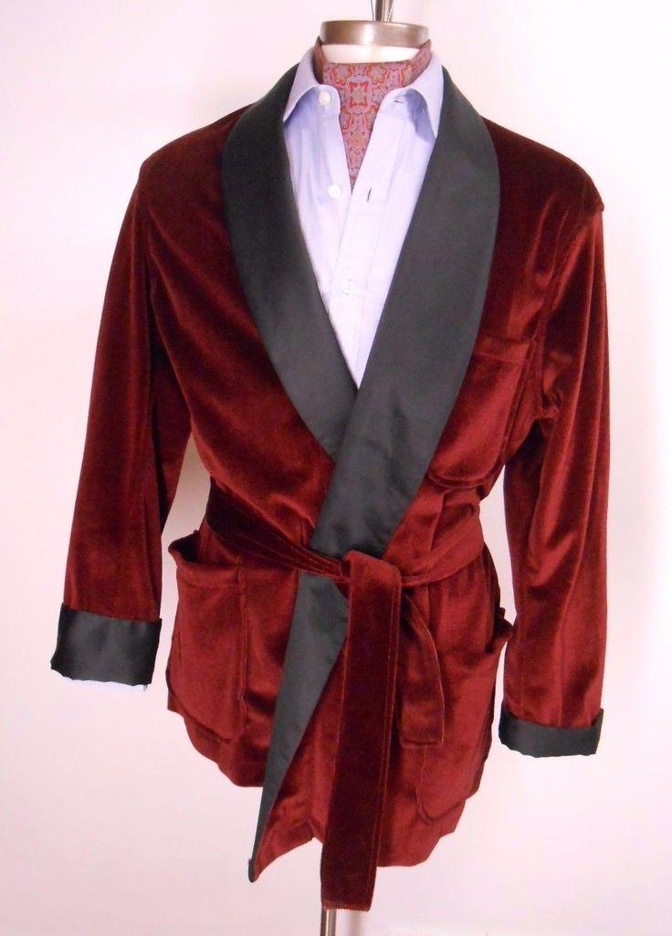 Vtg Bill Blass Mens Solid Burgundy Black Smoking Jacket