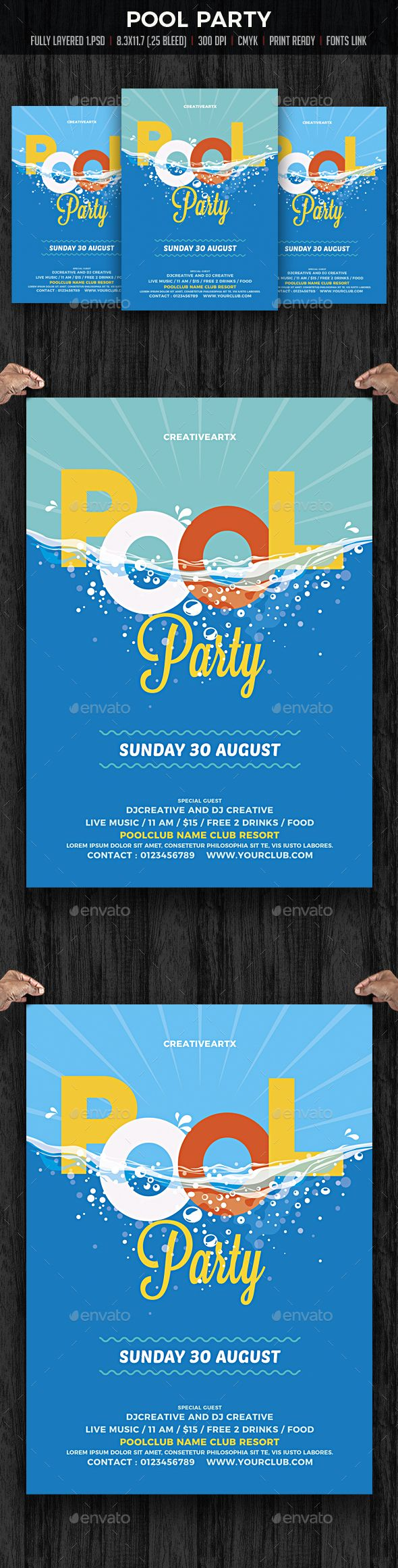 Pool Party / Beach #Party - Clubs & Parties #Events Download here: https://graphicriver.net/item/pool-party-beach-party/19717080?ref=alena994