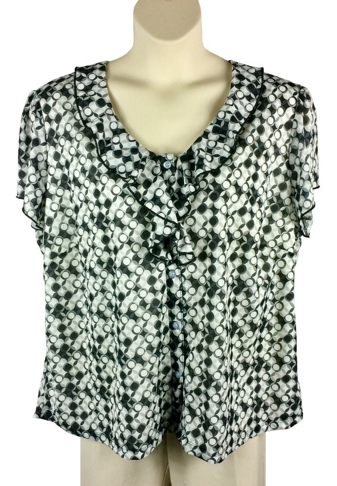 Womens Notations Button Down Blouse Plus Size 3x Black White Gray