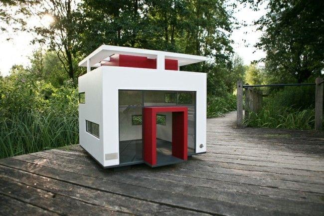 moderne Hundehütte schickes Design trendige Tier Möbel Garten