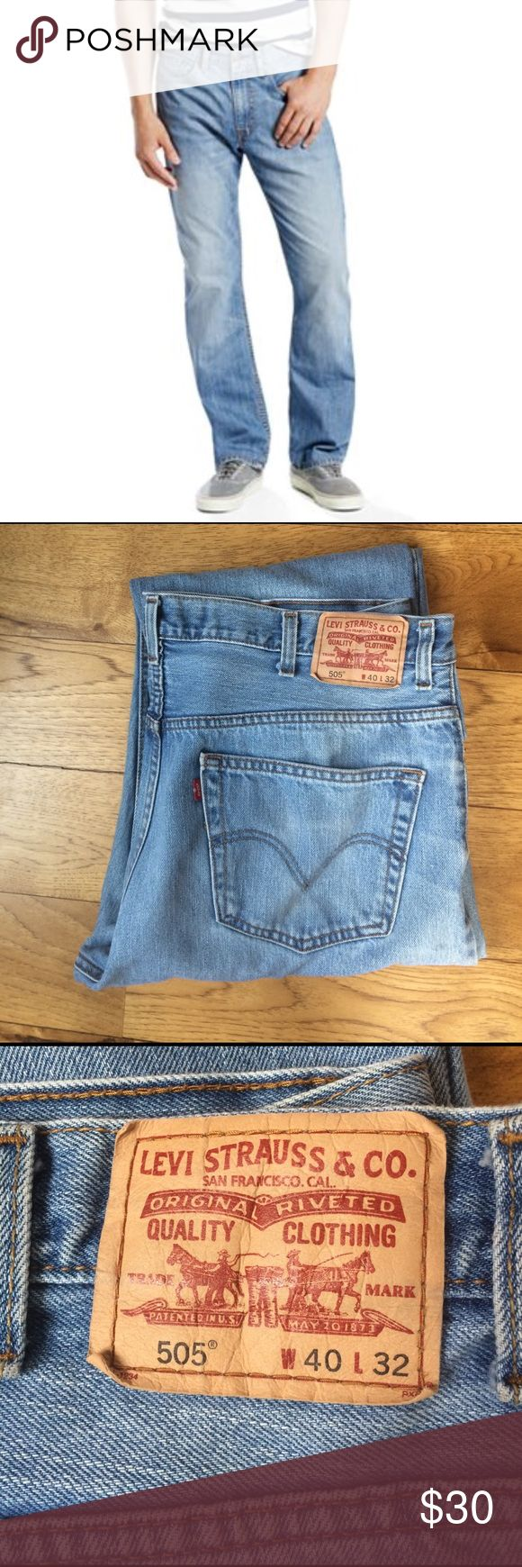 Men's Levis 505 Jeans Used but great condition. Soft denim fabric. W40 x L32. Regular Straight fit. Levi's Jeans Straight