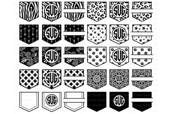 Pocket Patterns Svg Files Shirt Pocket Monogram Svg Files For Silhouette Cameo And Cricut Pocket Monogram Clipart Png Included In 2021 Monogram Svg Pocket Pattern Card Pattern
