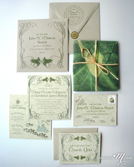 Lord Of The Rings Wedding Invitations Part One Invitation Suite Tolkien And Lotr