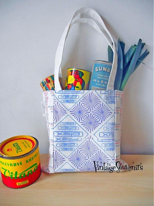 Handmade ECO Shopping Bag OTEX  /Otex was in communist Czechoslovakia network of trade in textiles /  VINTAGE SOUVENIRS design retro style Made in Czechoslovakia.