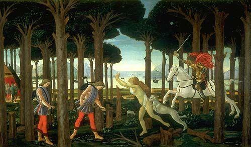 """Nos encontramos ante un cuadro realizado por Boticelli, titulado """"La historia de Nastagio delgi Onesti"""""""