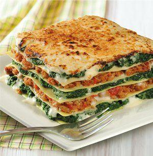 Lasagne met iglo gehakte spinazie