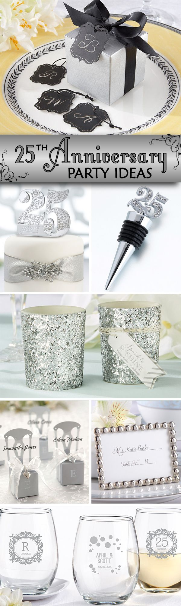 25th Wedding Anniversary Party Favors & Supplies - add some sparkle to your event!