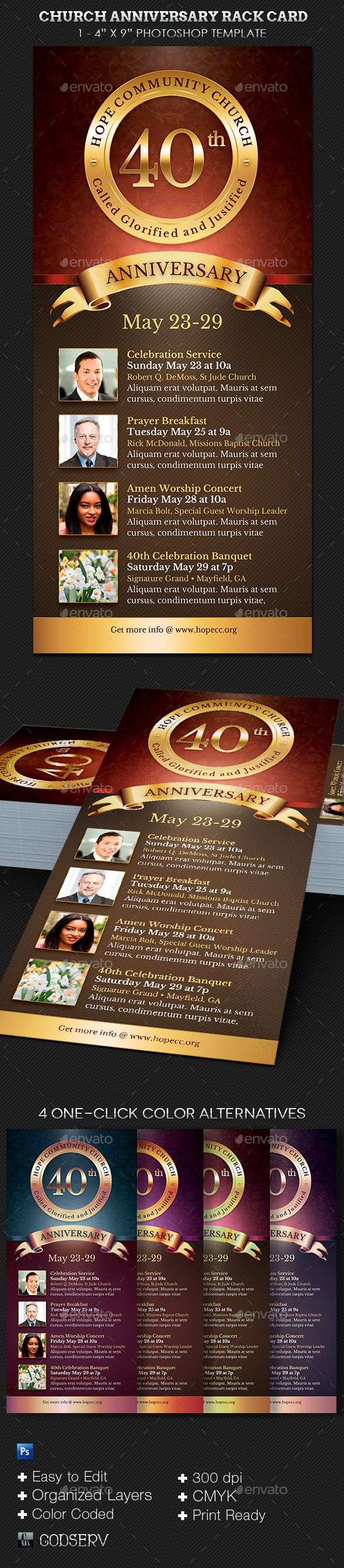Church Anniversary Rack Card Template  Card Templates Churches