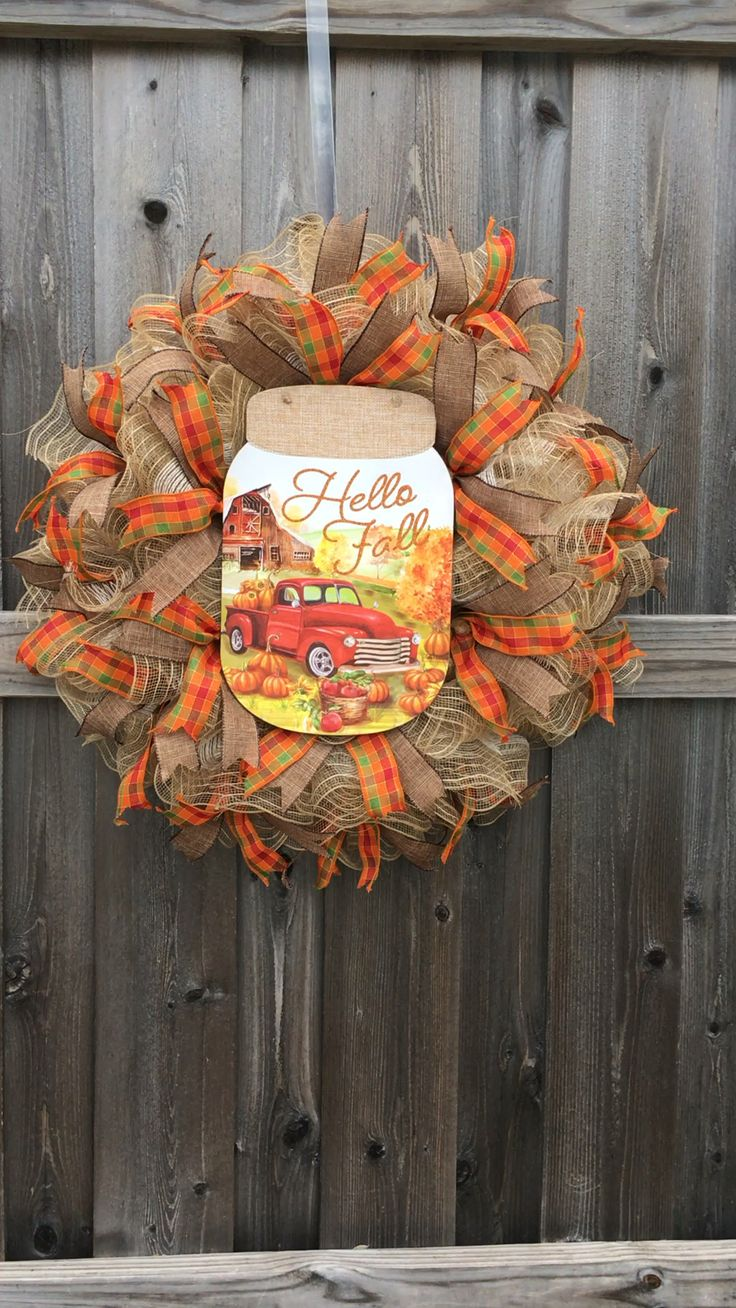 Fall Wreath, Red Truck Wreath, Thanksgiving Wreath, Autumn Wreath, Red Truck Decor