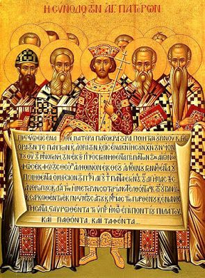 Icon depicting the Emperor Constantine, accompanied by the bishops of the First Council of Nicaea (325), holding the Niceno–Constantinopolitan Creed of 381.