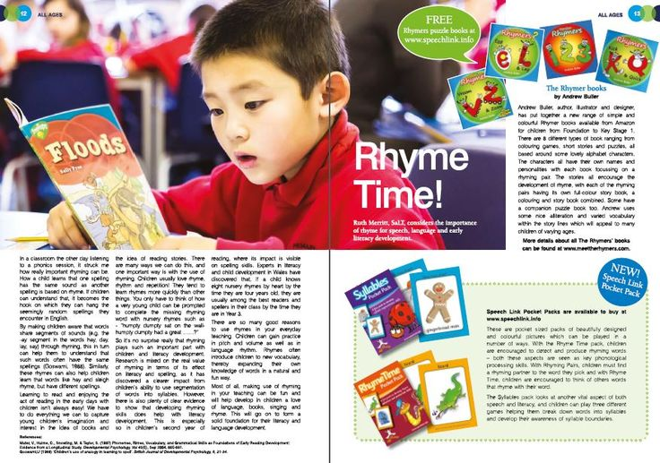 The Rhymer's books featured in an article from SpeechLink on the importance of rhyme for speech, language and early literacy development