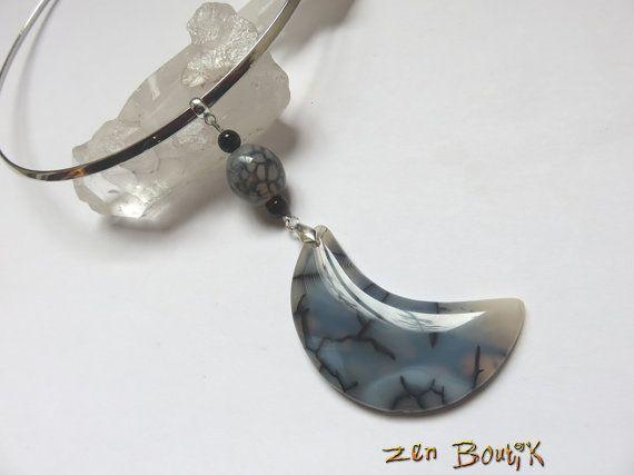 Agate Veinée Lune Collier Agate veine dragon Gris par ZenBoutik