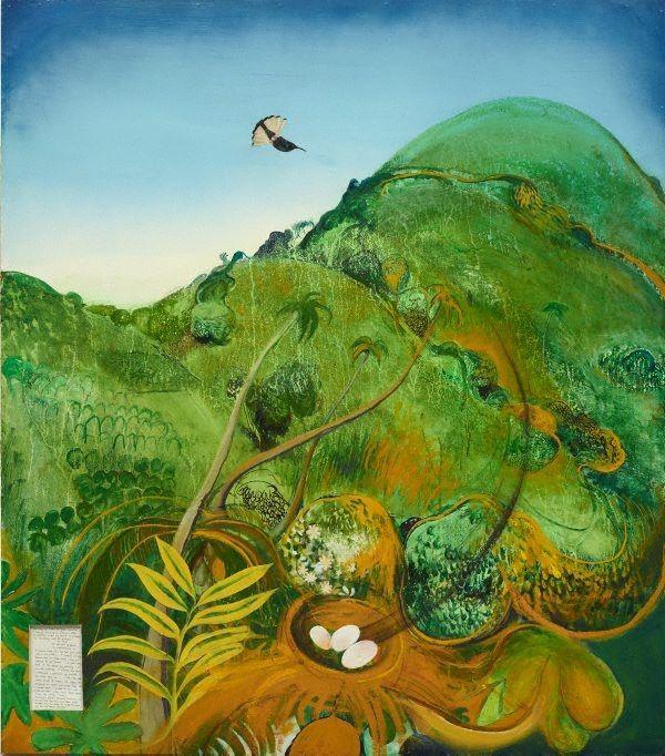 Brett Whiteley, The green mountain (Fiji), 1969, oil, collage on cardboard, 137.0 x 122.0cm board.