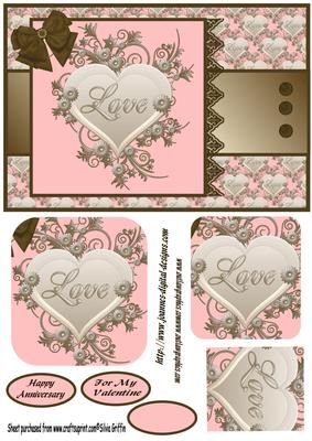 Romantic Heart with Floral accent QS on Craftsuprint designed by Silvia Griffin - Romance is in the air with this card. Gave you a valentine and anniversary tag. Naturally also an plain one for your needs. - Now available for download!