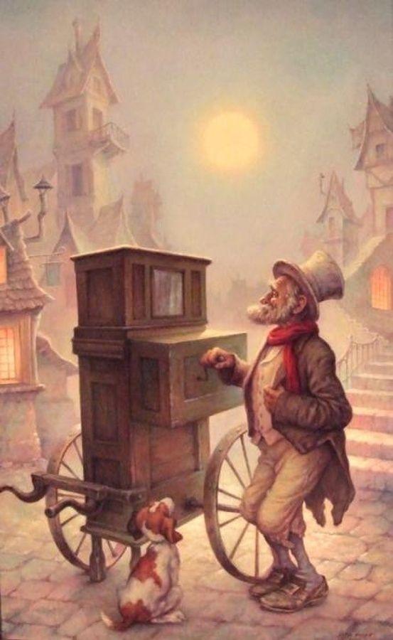 The old organ-grinder (Az öreg kíntornász) - artist: Szász Endre László