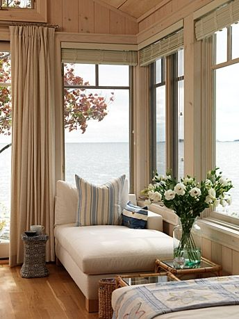 Everyone has a view no matter where they are sitting in this living room. The whole house has an elegant yet casual yet child friendly feel. After all, Sarah has two kids that she plans to bring every time the family comes to their cottage.